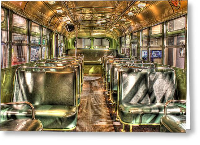 Rosa Parks Bus Inside Dearborn Mi Greeting Card by Nicholas  Grunas