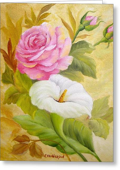 Rose And Calla Lily Greeting Card