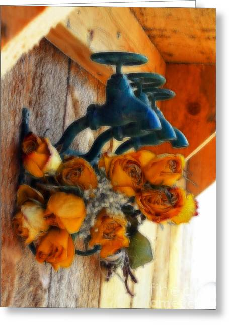 Rose And Faucet Floral Greeting Card by Marjorie Imbeau