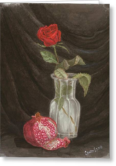 Rose And Pomegranate Greeting Card