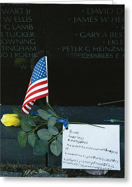 Rose, Flag, And Note Of Remembrance Greeting Card