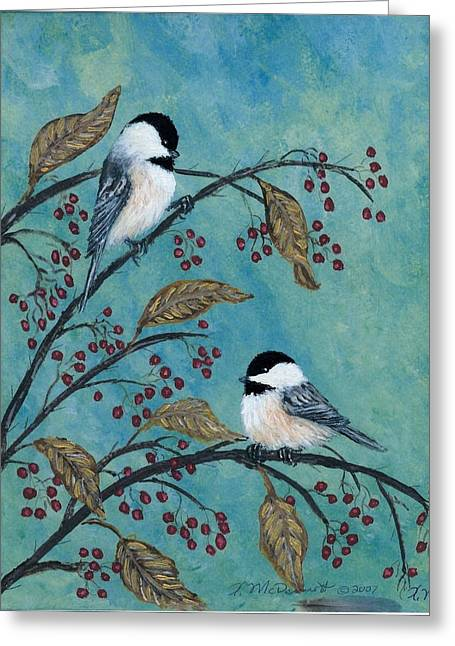 Rose Hip Chickadees Greeting Card by Kathleen McDermott
