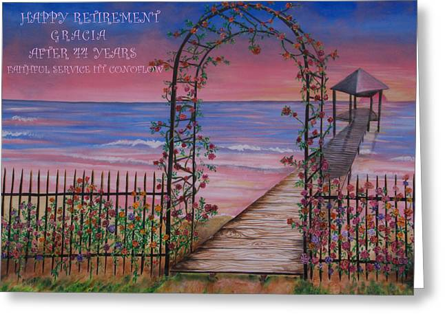 Rose Trellis Retirement Greeting Card