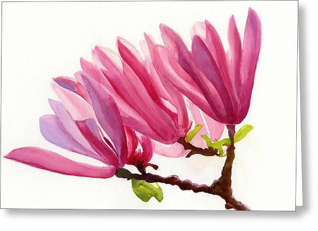 Rose Violet Magnolia Greeting Card