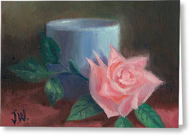 Greeting Card featuring the painting Rose With Blue Cup by Joe Winkler