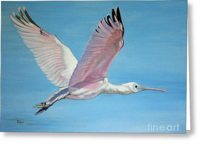 Greeting Card featuring the painting Roseate Spoonbill In Full Flight by Jimmie Bartlett