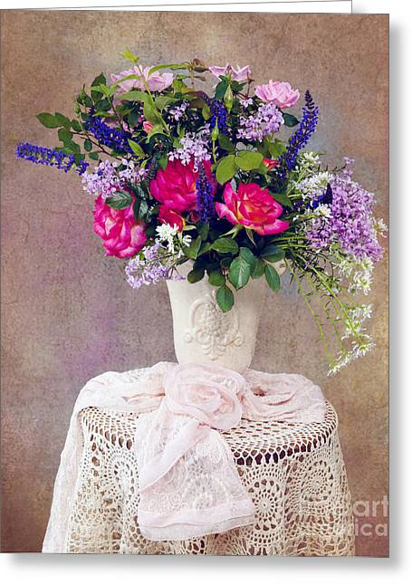 Greeting Card featuring the photograph Roses And Lilac  by Cheryl Davis