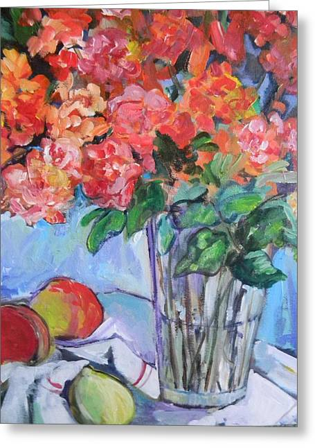 Roses And Peaches Greeting Card by Carol Mangano