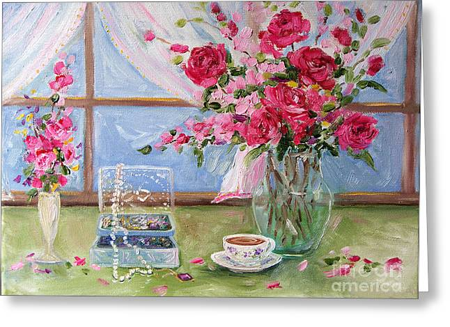 Roses And Pearls Greeting Card by Jennifer Beaudet