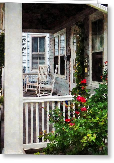 Roses And Rocking Chairs Greeting Card by Susan Savad