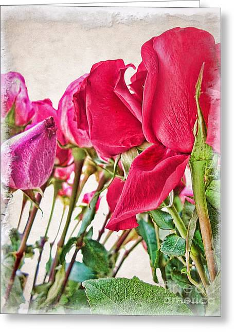 Roses In White Greeting Card by Joan  Minchak