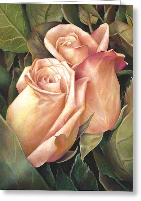 Greeting Card featuring the painting Rosey Embrace by Nancy Tilles