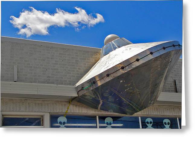 Roswell Alien Spacecraft Greeting Card by Gregory Dyer