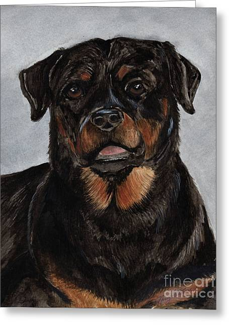 Greeting Card featuring the painting Rottweiler  by Nancy Patterson