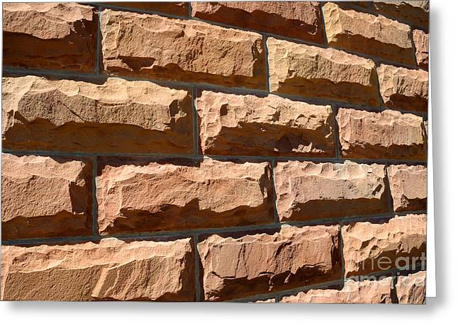 Rough Hewn Sandstone Brick Wall Of A Historic Building Greeting Card by Gary Whitton