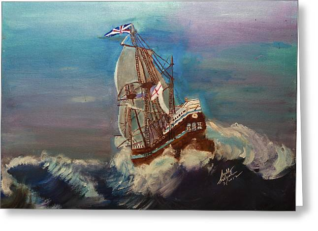 Greeting Card featuring the painting Rough Seas by Swabby Soileau