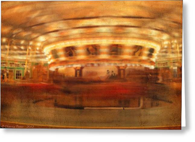 Round And Round Goes The Dentzel Carousel At Glen Echo Park Md Greeting Card