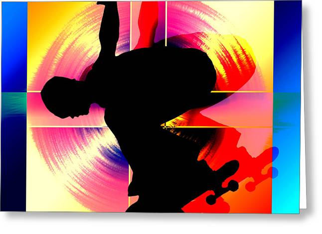 Round Peg In Square Hole Skateboarder Greeting Card by Elaine Plesser