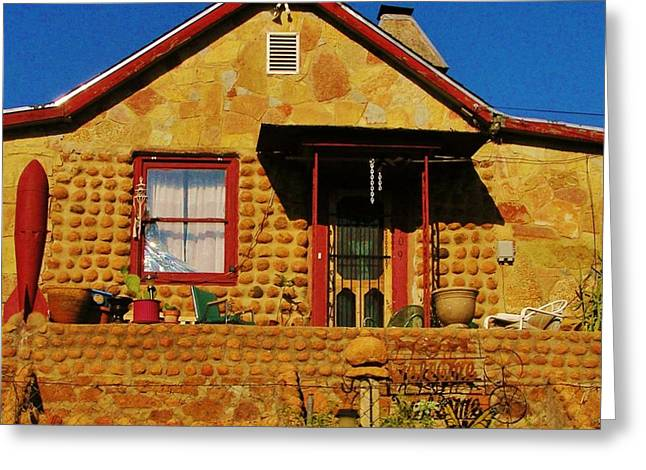 Round Rock House Greeting Card by Sharon Farris