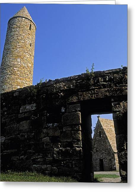 Round Tower And Chapel, Ulster History Greeting Card by The Irish Image Collection