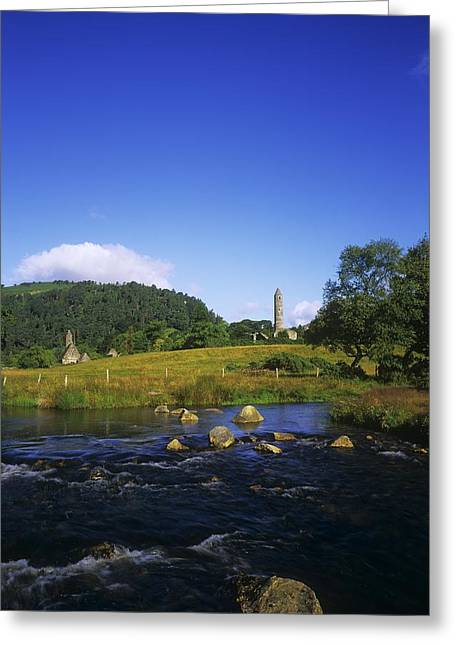 Round Tower And River In The Forest Greeting Card by The Irish Image Collection