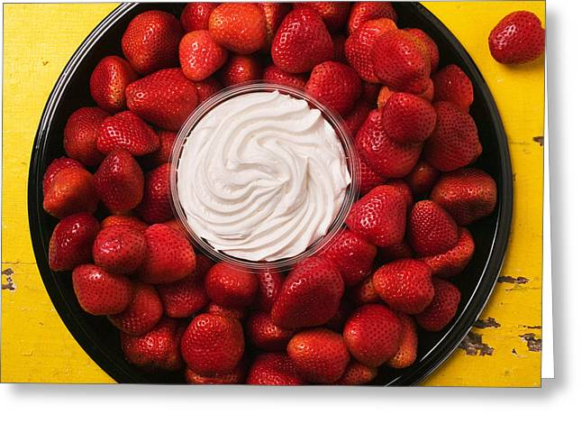 Round Tray Of Strawberries  Greeting Card by Garry Gay