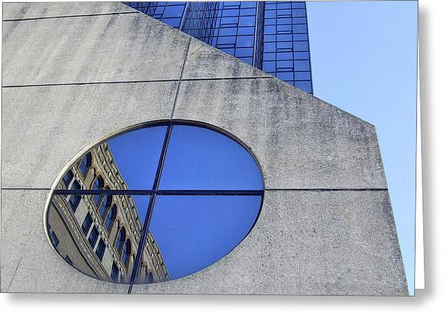 Round Window Reflection Greeting Card by Richard Gregurich