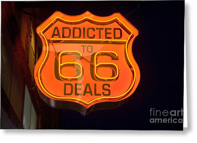 Route 66 Addicted Greeting Card by Bob Christopher