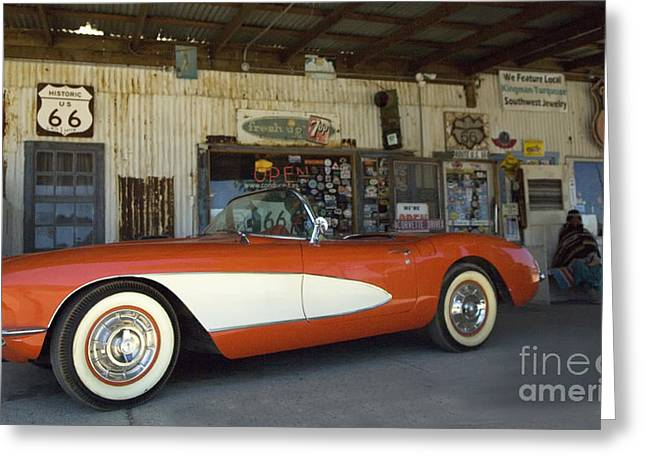 Route 66 Corvette Greeting Card by Bob Christopher