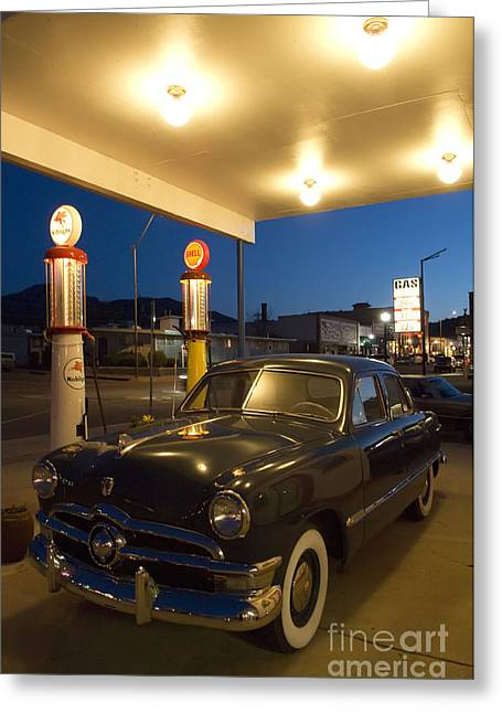 Route 66 Garage Scene Greeting Card by Bob Christopher