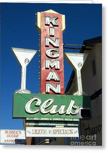 Route 66 Kingman Club Greeting Card by Bob Christopher