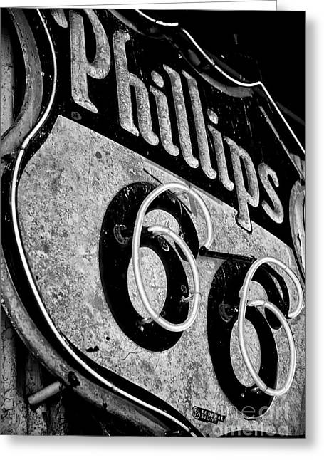 Route 66 Sign Black And White Greeting Card by Hideaki Sakurai
