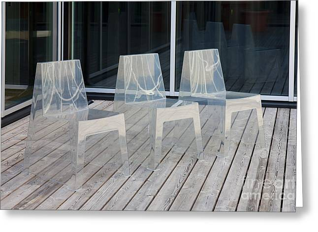Row Of Modern Translucent Chairs Greeting Card by Jaak Nilson