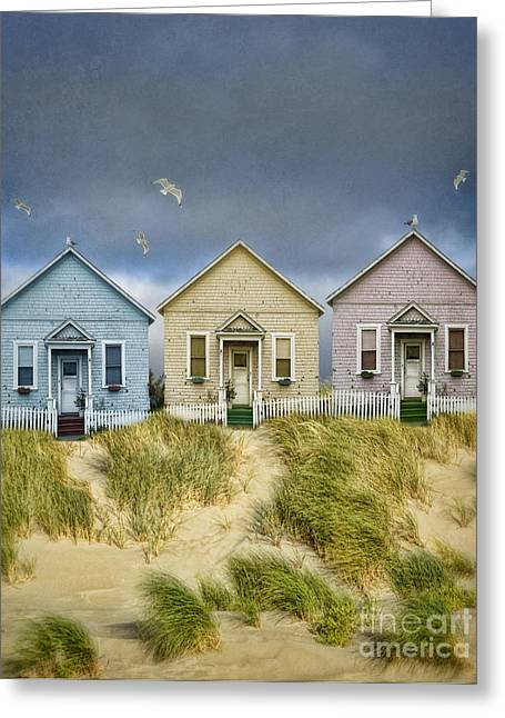 Row Of Pastel Colored Beach Cottages Greeting Card by Jill Battaglia