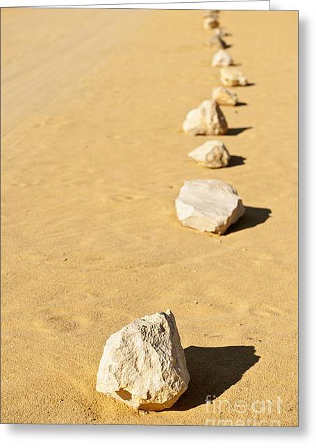 Row Of Stones In Desert Greeting Card by Dave & Les Jacobs