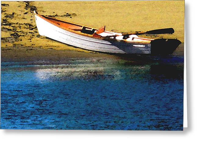Rowboat At Mother's Beach Greeting Card by Timothy Bulone