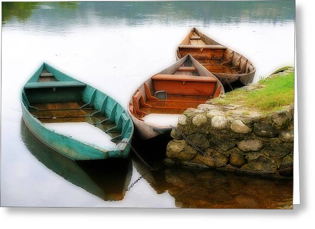 Greeting Card featuring the photograph Rowing Boats Out Of Season by Rod Jones