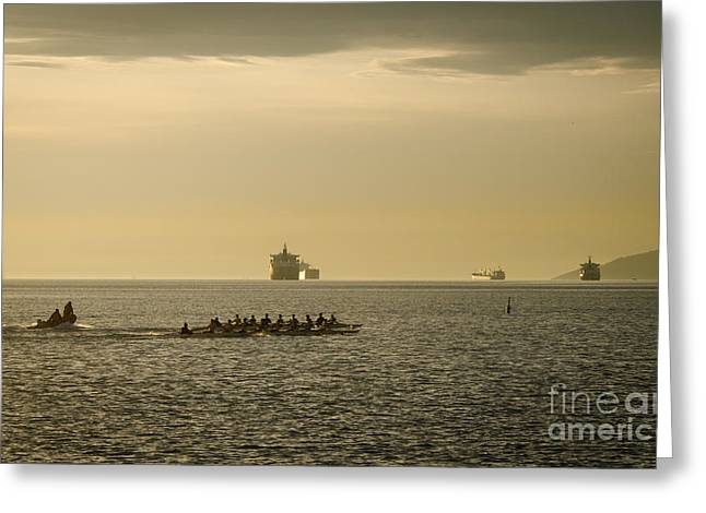 Rowing Training Off Sunset Beach Park False Creek Vancouver Bc Canada Greeting Card by Andy Smy