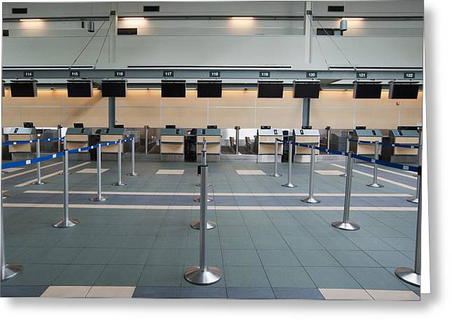 Rows Of Closed Check In Desks Greeting Card by Marlene Ford