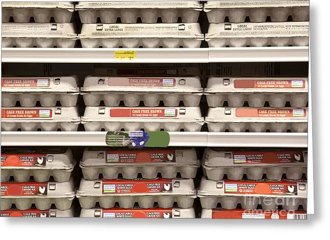 Rows Of Egg Cartons On Display Greeting Card