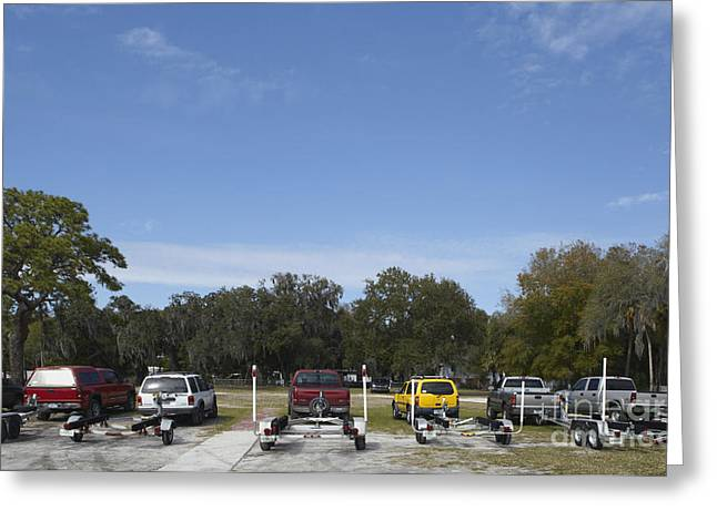 Rows Of Vehicles With Boat Trailers Greeting Card by Skip Nall