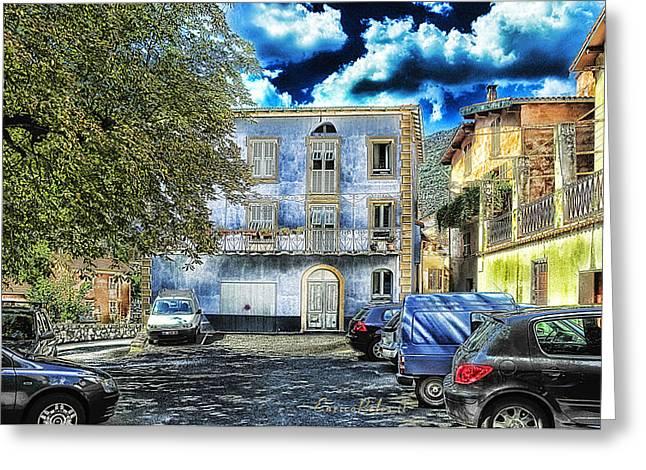 Roya Valley Breil Sur Roya The Blue House Greeting Card by Enrico Pelos