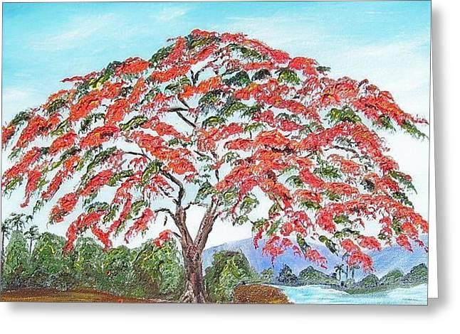 Royal Poinciana Lake Greeting Card by Maria Soto Robbins