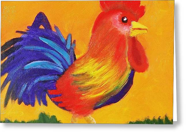 Greeting Card featuring the painting Royal Rooster by Margaret Harmon