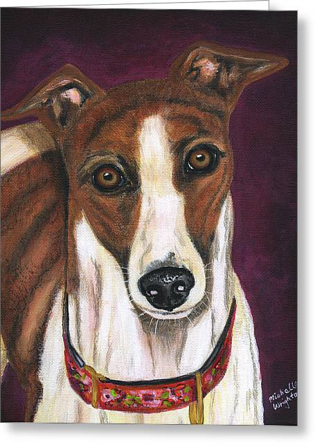 Royalty - Greyhound Painting Greeting Card by Michelle Wrighton