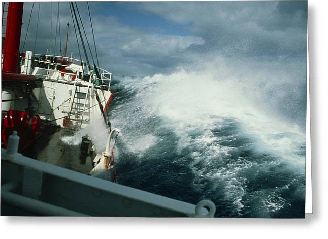 Rrs John Biscoe In Heavy Seas, Drake's Passage Greeting Card by David Vaughan
