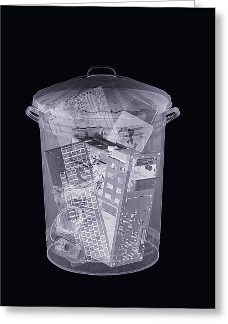 Rubbish Bin, Simulated X-ray Greeting Card