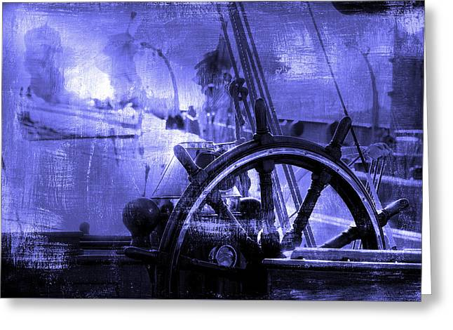 rudder in blue - A vintage sail vessel rudder Greeting Card by Pedro Cardona