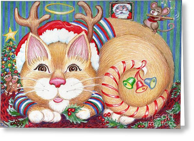 Rudolph The Pink Nosed Dear Cat Greeting Card