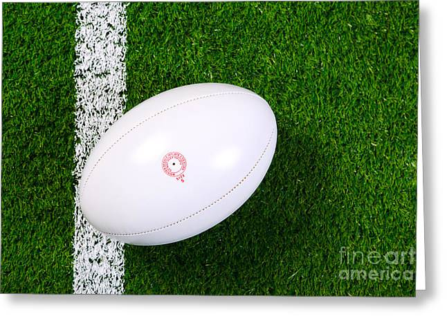 Rugby Ball On Grass From Above. Greeting Card